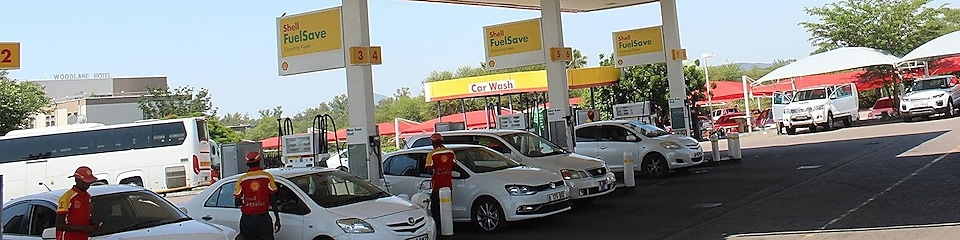 The forecourt of a shell service station
